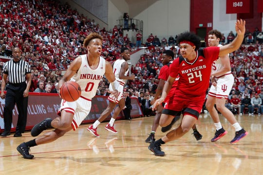 Indiana Hoosiers guard Romeo Langford (0) drives to the basket against Rutgers Scarlet Knights guard Ron Harper Jr. (24) during the first half at Assembly Hall.