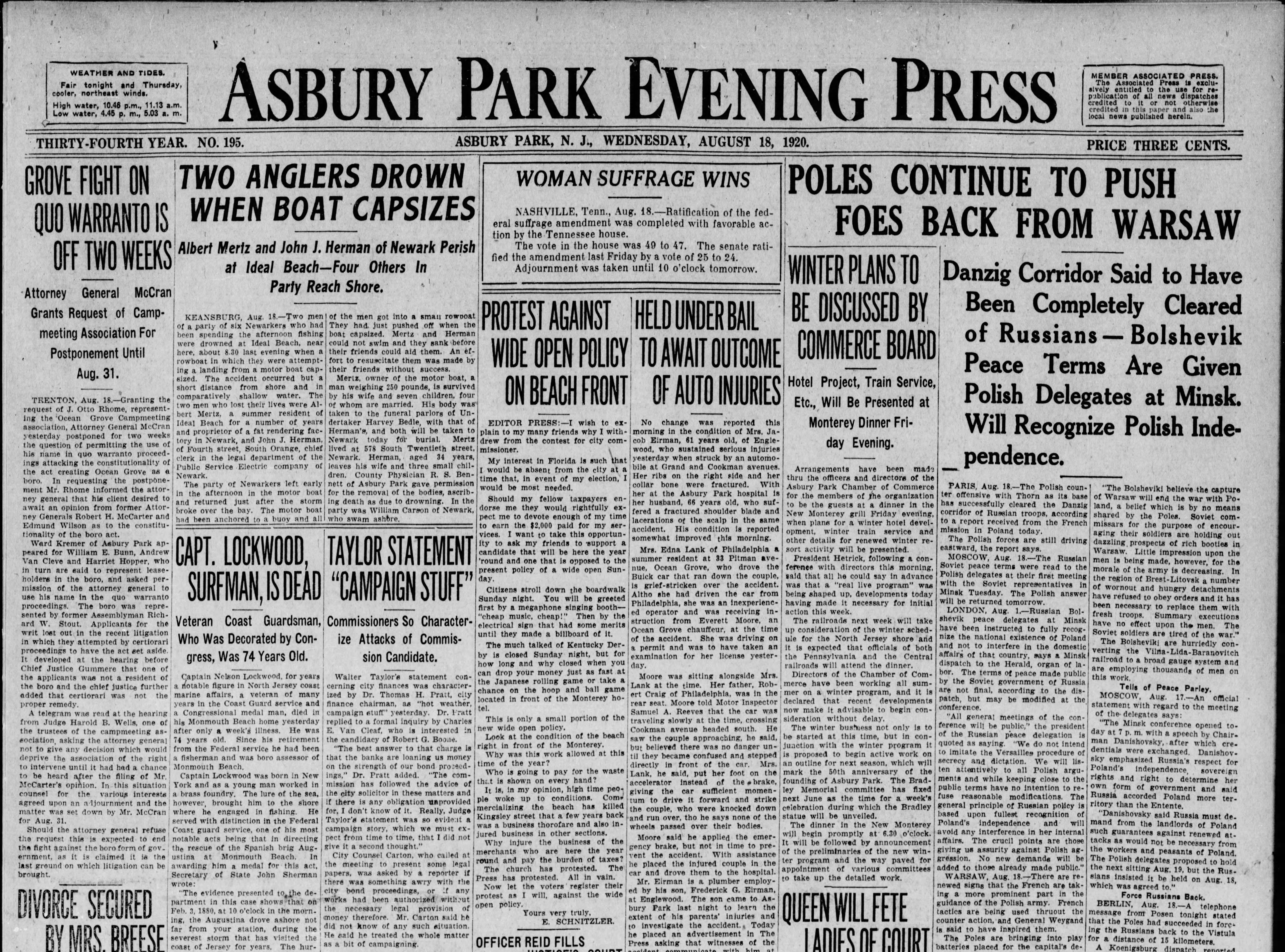 Ratification of the 19th amendment to the U.S. Constitution, giving women the right to vote, gets a prominent albeit condensed place on the front page of the Asbury Park Press on Wednesday, Aug. 18, 1920.
