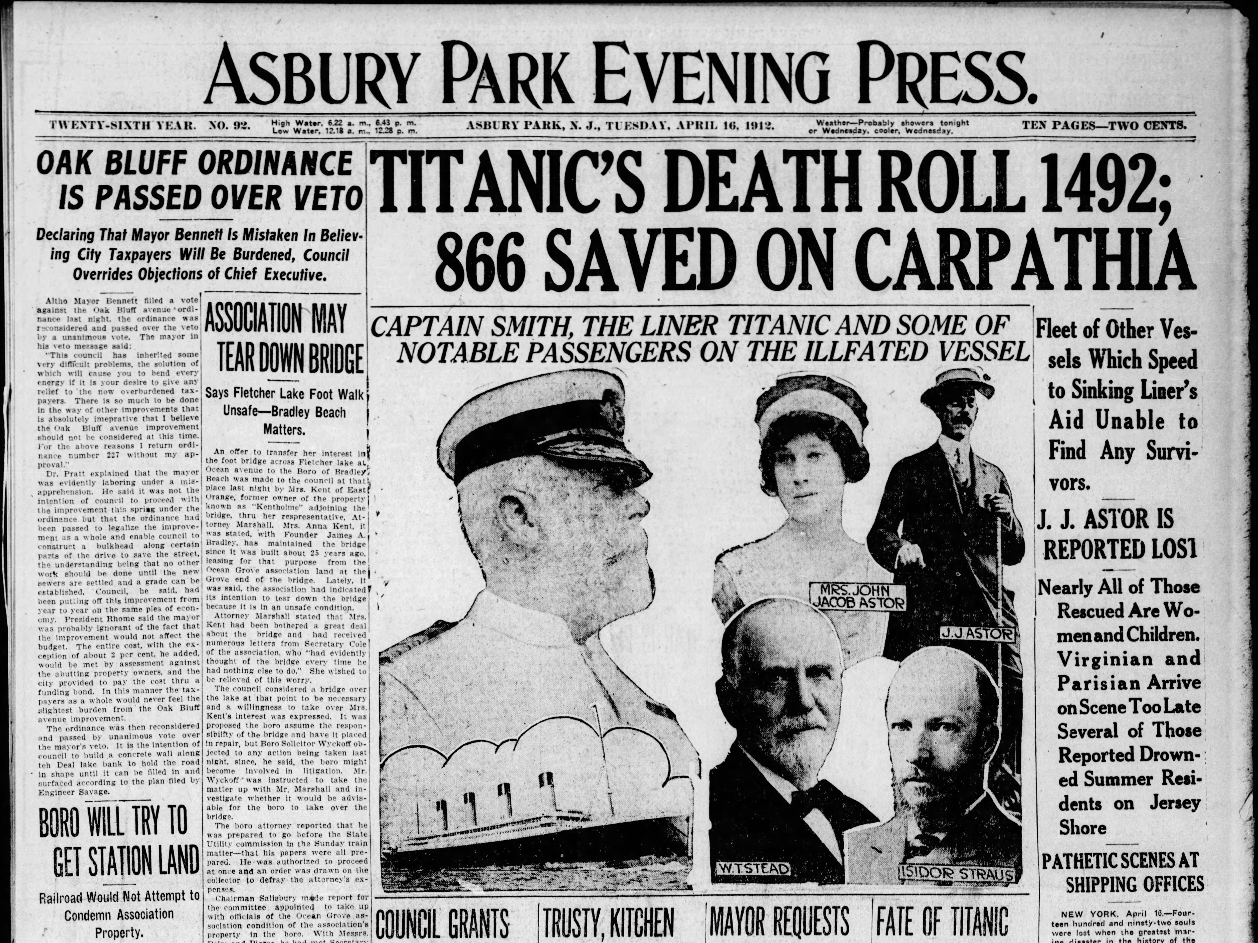 The Asbury Park Press reports on the epic tragedy of the RMS Titanic disaster on Tuesday, April 16, 1912, one day after the passenger liner sinks in the North Atlantic while en route to New York from Europe on its maiden voyage.
