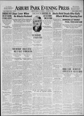 """The front page of the Asbury Park Press on the evening of """"Black Tuesday,"""" Oct. 29, 1929, seems oblivious to the full gravity of the stock market crash that would spiral into the Great Depression in the decade that followed."""