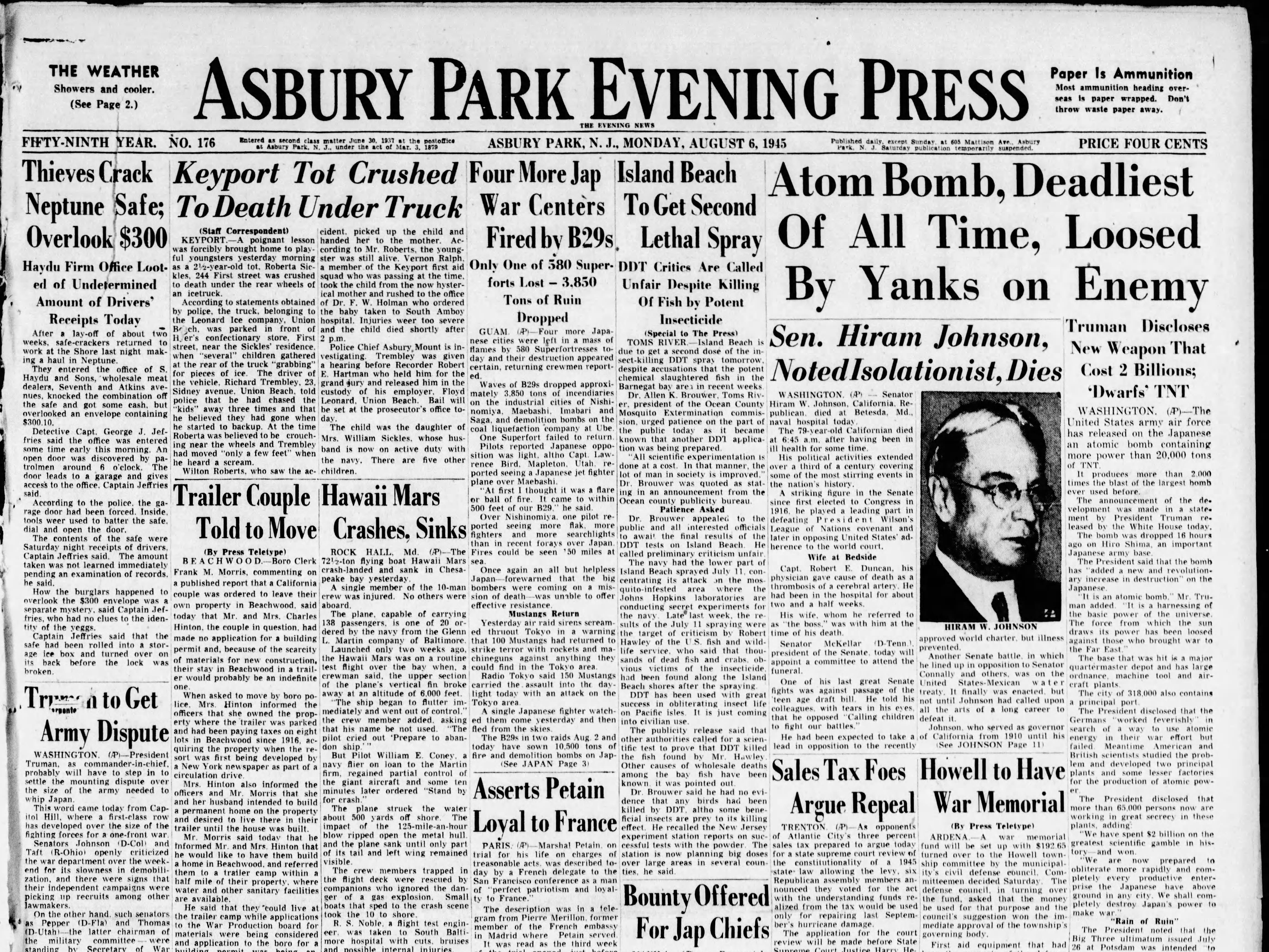 """President Harry S. Truman discloses the existence of a powerful new """"atom bomb,"""" capable of wiping out entire cities, that was used for the first time, earlier in the day, on the Japanese city of Hiroshima on this Monday, Aug. 6, 1945."""