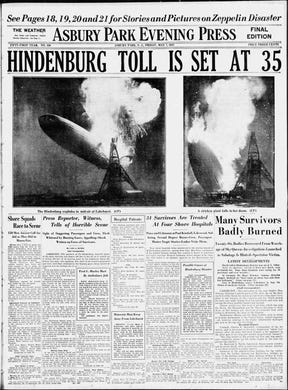 The Friday, May 7, 1937 edition of the Asbury Park Press, one day after the German passenger airship Hindenburg burst into flames while docking at Naval Air Station Lakehurst in Ocean County, following a three-day, transatlantic crossing from Frankfurt, Germany.