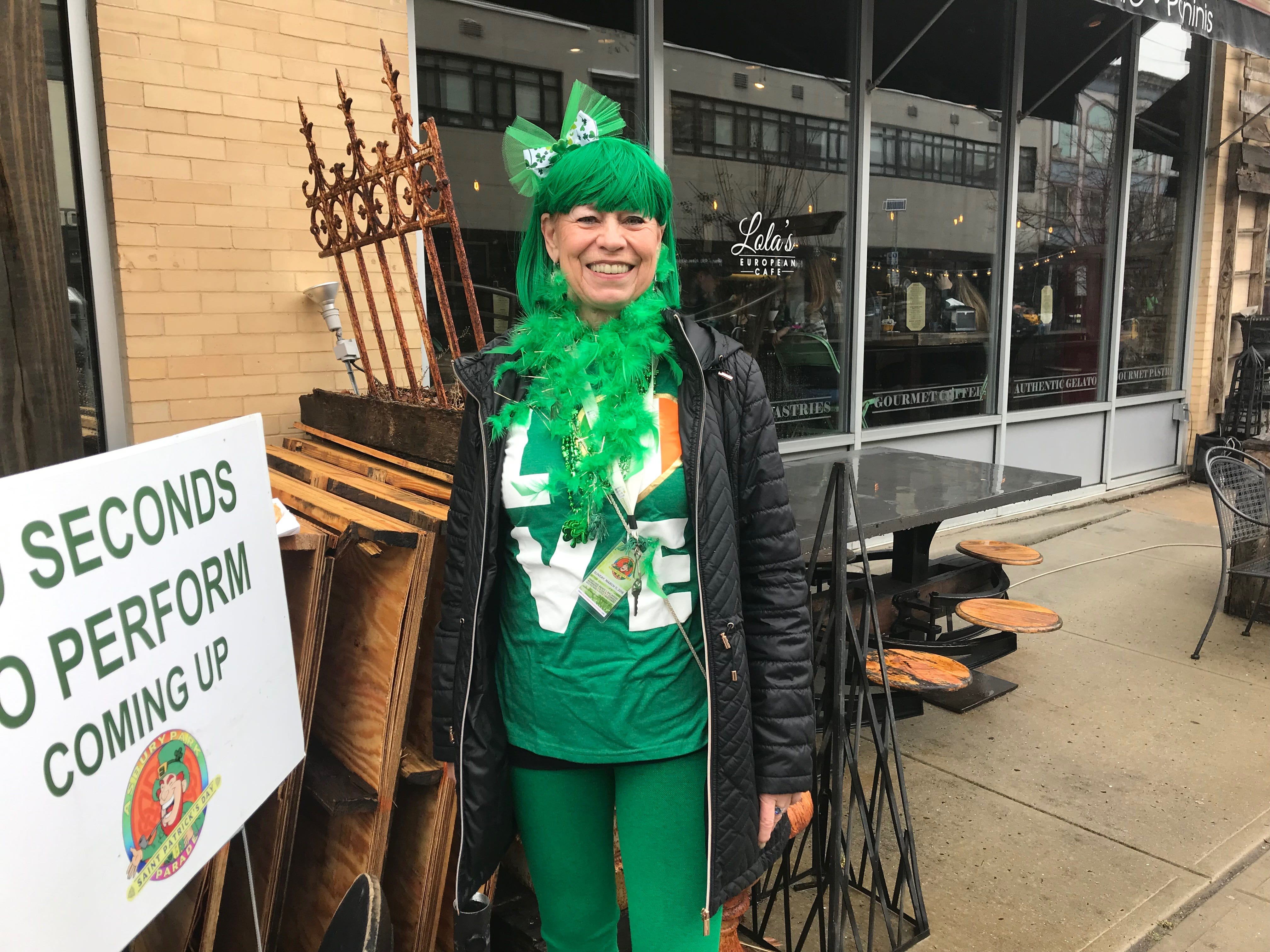 Shirlee Bunting of Ocean Grove stands on Cookman Avenue before the Asbury Park St. Patrick's Day Parade