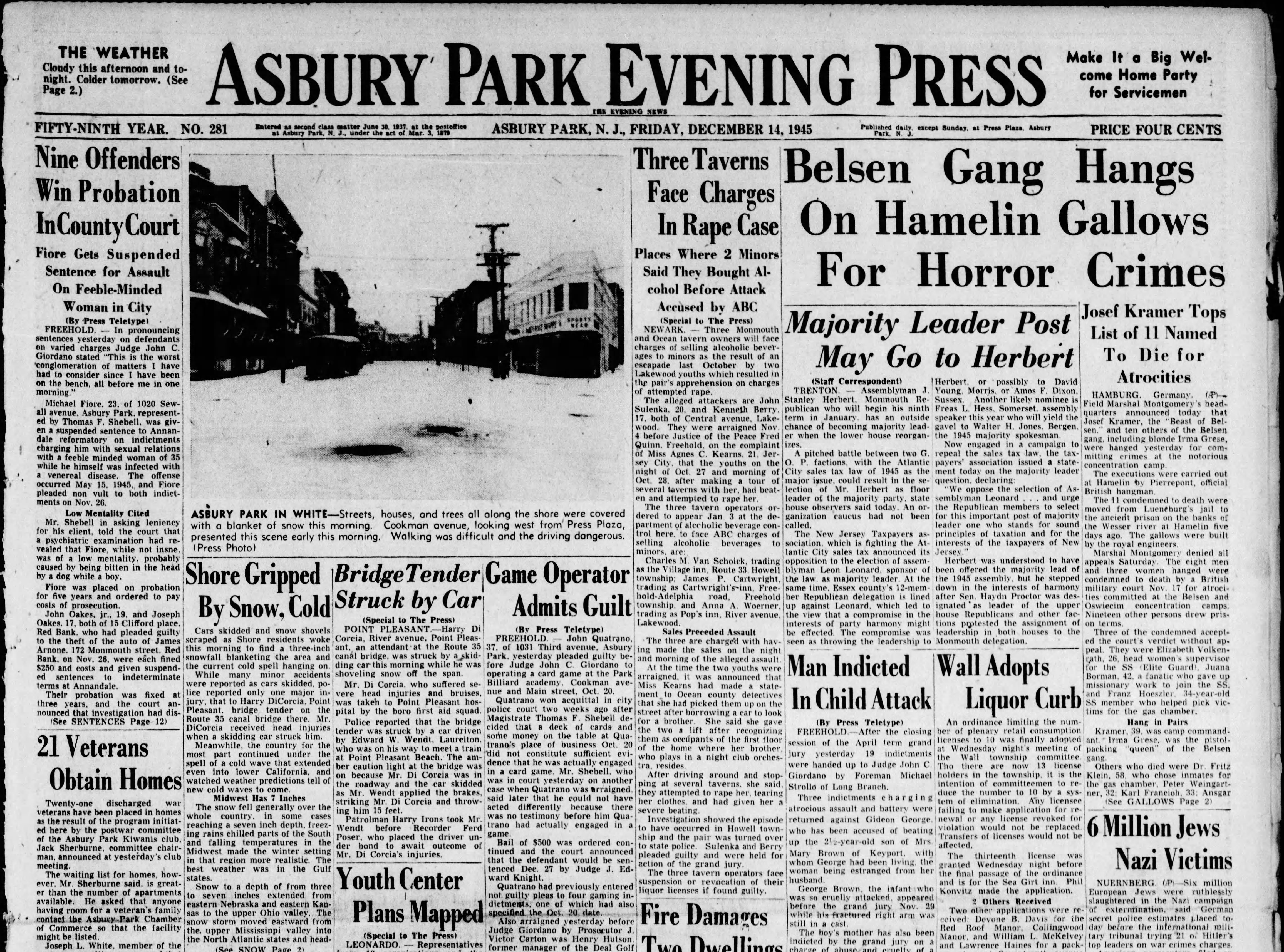 As the Nuremberg trials get underway in post-war Germany, the full horror of the Holocaust becomes apparent as news spreads that six million Jews were murdered under the Nazi regime in this edition from Friday, Dec. 14, 1945.