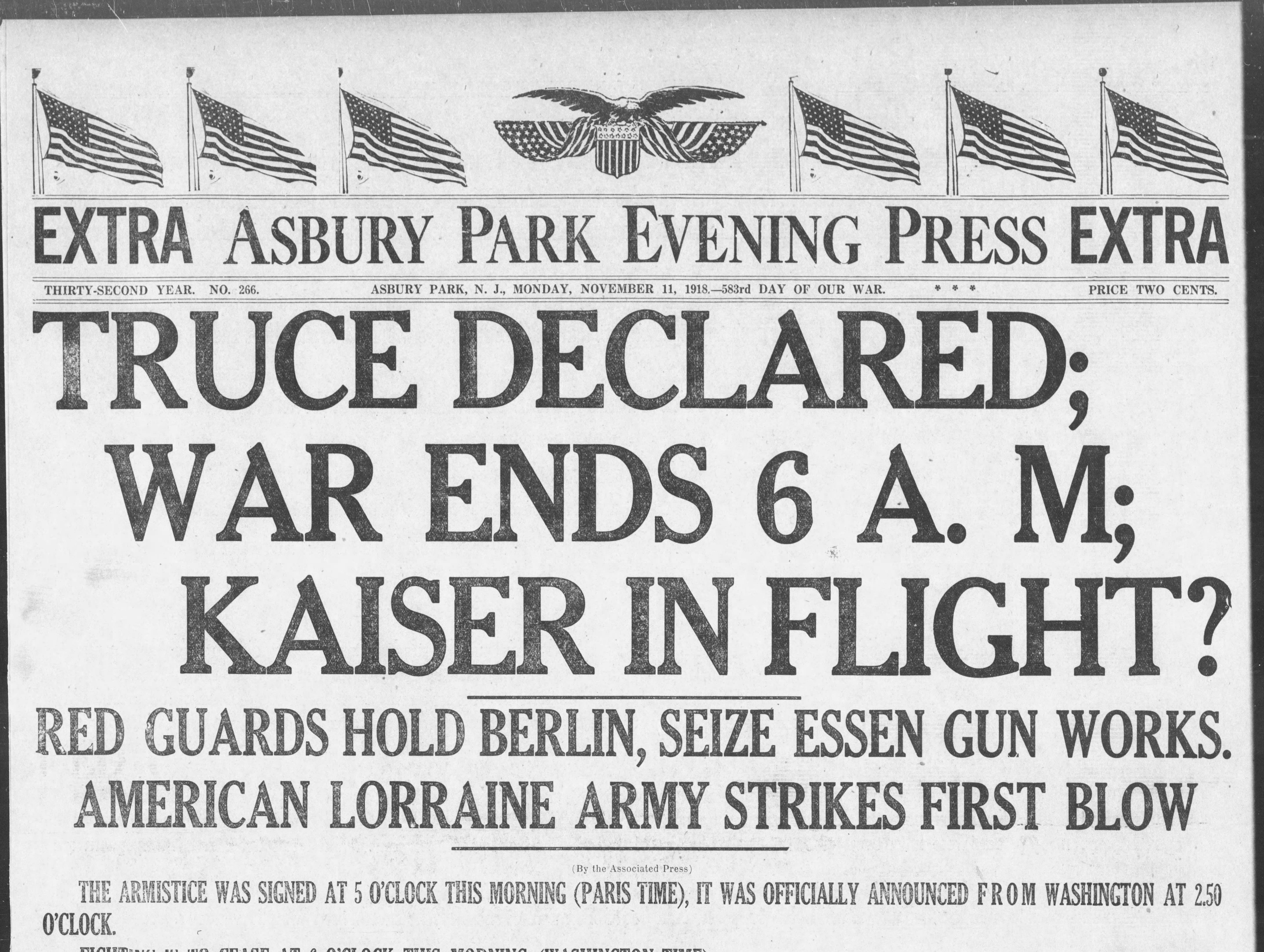 World War I comes to an end with the armistice on Monday, Nov. 11, 1918.