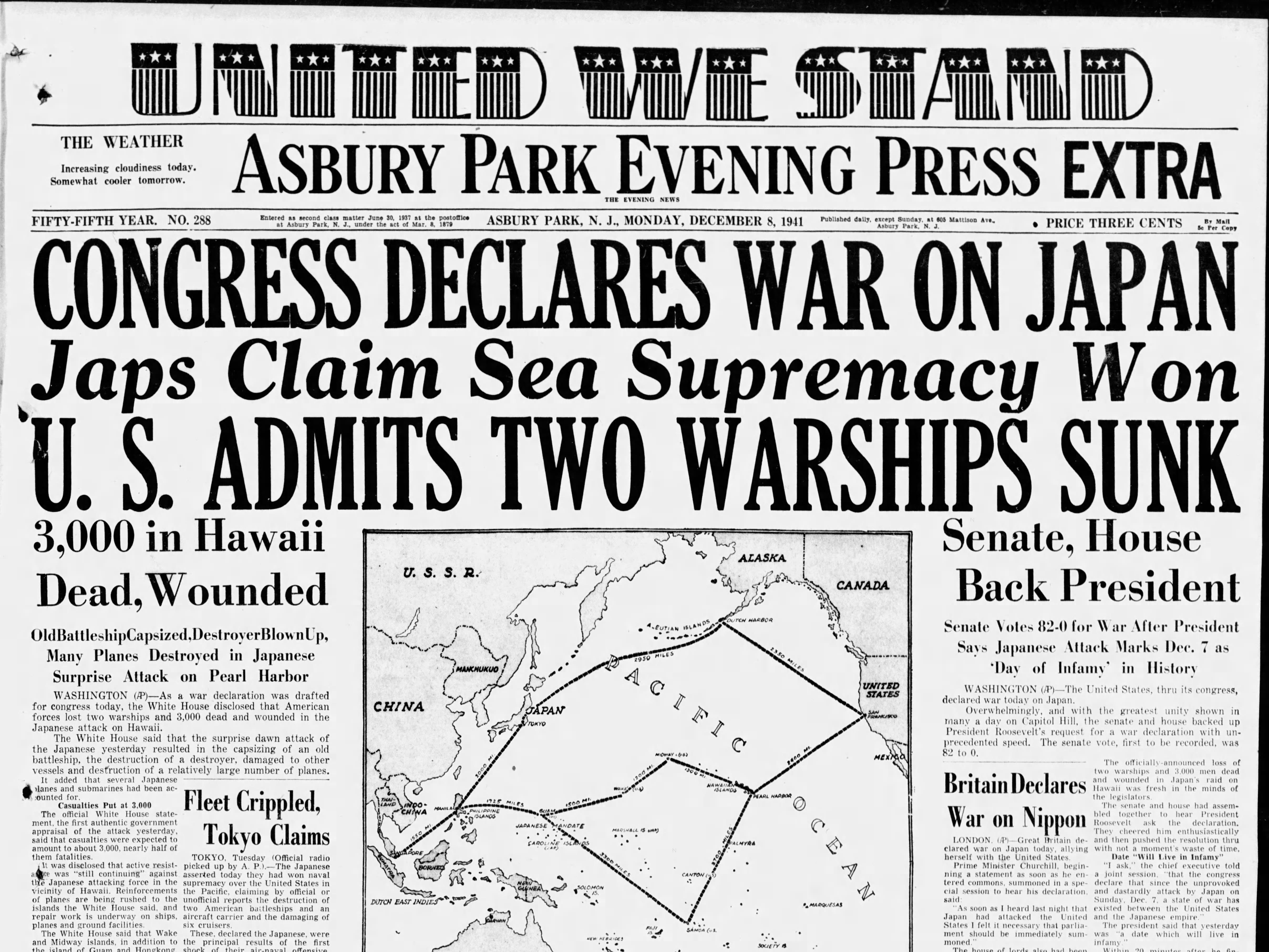 """The United States is neutral no more. A patriotic front page is one of two editions published on Monday, Dec. 8, 1941, one day after the Japanese attack on Pearl Harbor. This second or """"extra"""" edition was ordered after Congress formally declared war on Japan."""
