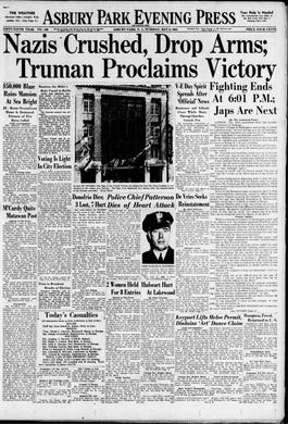 Victory in Europe Day, more commonly shortened to V-E Day, comes on Tuesday, May 8, 1945. Meanwhile, the war goes on in the Pacific.