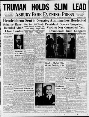 """It's not quite """"Dewey Defeats Truman,"""" but the editors of the Asbury Park Press were still not ready to write off New York Gov. Thomas E. Dewey on the evening after a shock presidential election in this edition from Wednesday, Nov. 3, 1948."""