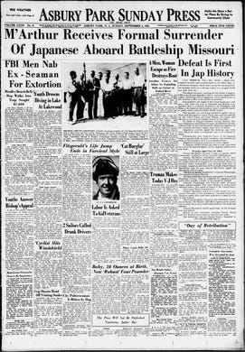World War II comes to a long and bloody close with the surrender of Japan on this Monday, Sept. 2, 1945.