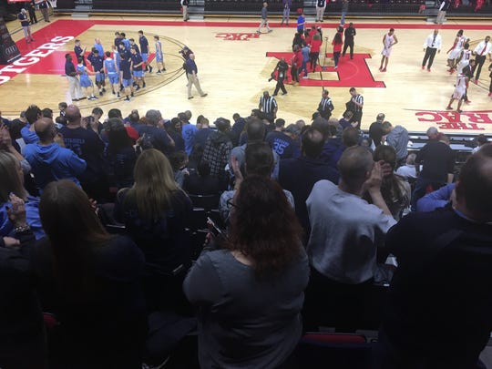 Moments before the game starts the Freehold Township fan rise for the announcement of the starting lineups at the Group IV State Final at Rutgers University on March 10, 2019