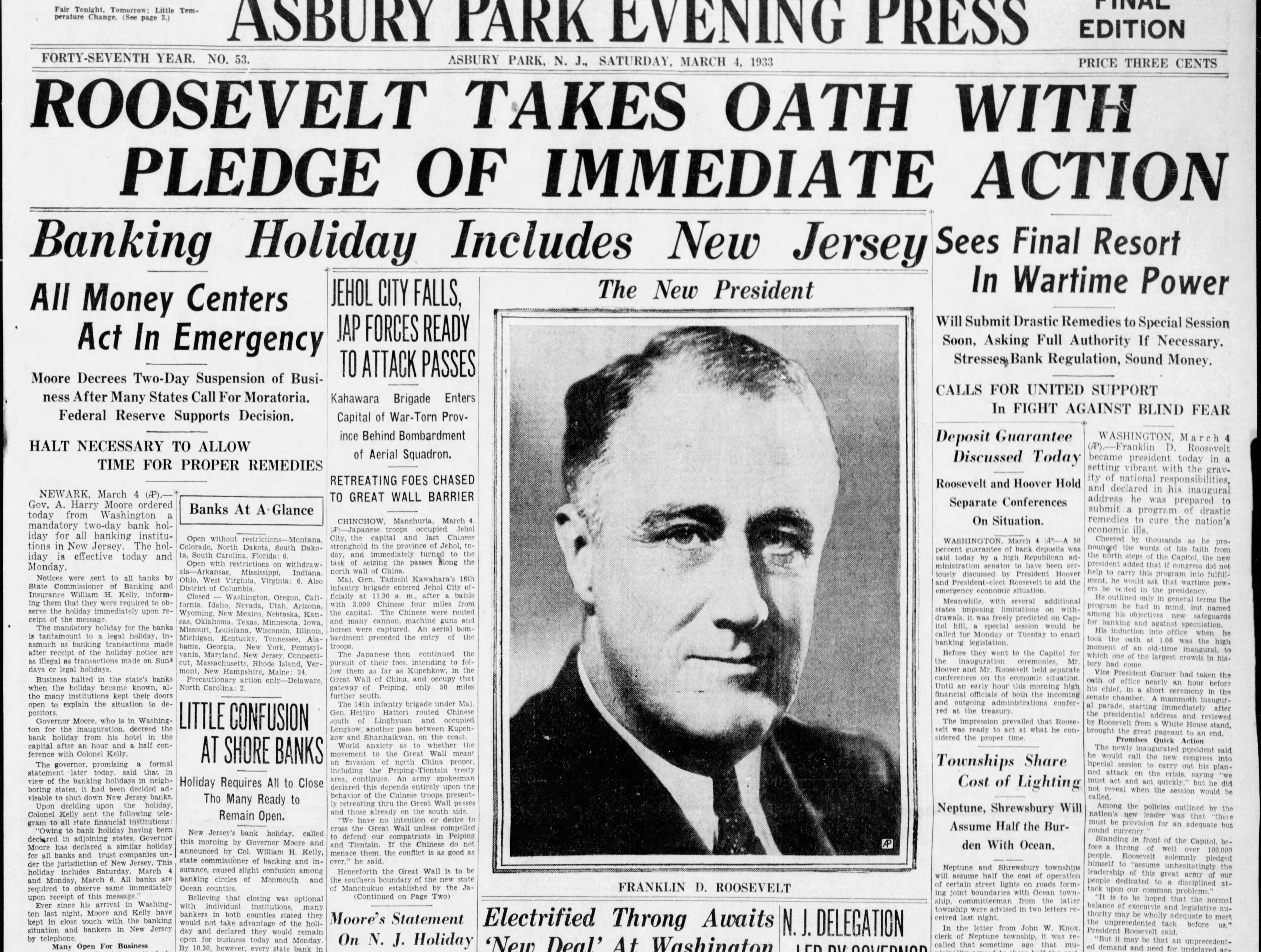 As the Great Depression threatens to tear the country apart, Franklin D. Roosevelt becomes the 32nd president of the United States on Saturday, March 4, 1933 and promises swift government action and regulation to remedy the nearly four-year-old crisis.