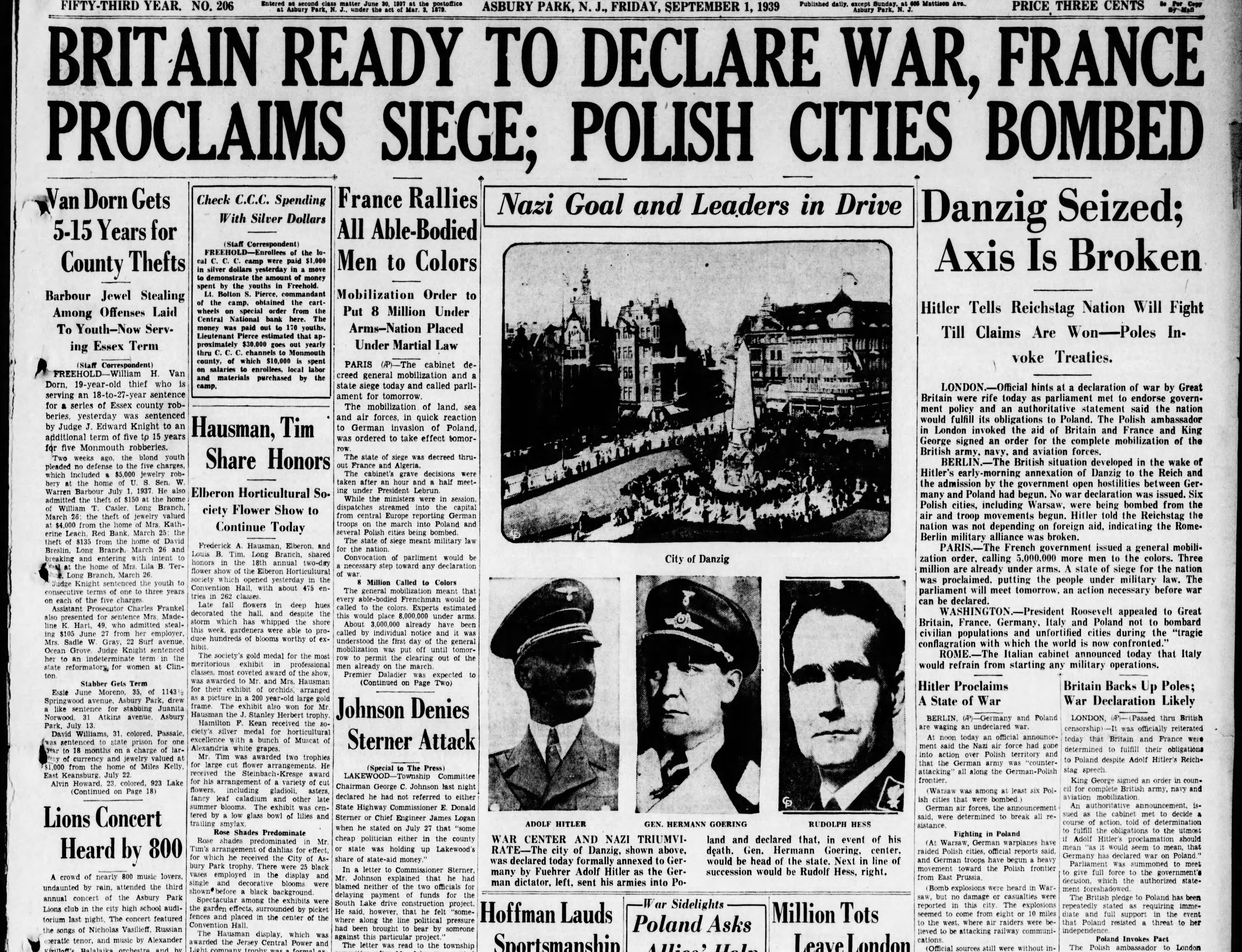 World War II begins in Europe after Nazi Germany's Adolf Hitler orders the invasion of Poland on Friday, Sept. 1, 1939. As the international order crumbles once again, the United States plots an uneasy neutrality as most Americans at the time oppose intervention in another European war.