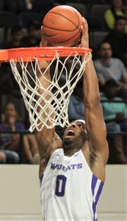 ACU's Jaylen Franklin dunks the ball in the first half against Incarnate Word. He finished with a game-high 19 points. ACU beat the Cardinals 81-51 in the Southland Conference game Saturday, March 9, 2019, at Moody Coliseum.