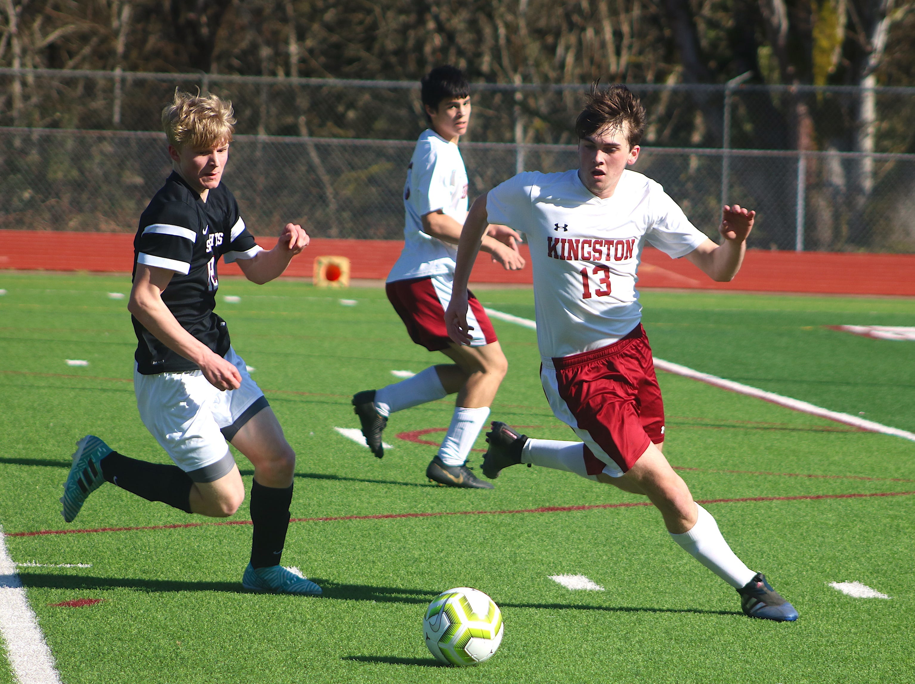 South Kitsap's boys soccer team defeated Kingston 3-0 in a nonleague game Saturday, March 9 in Port Orchard.