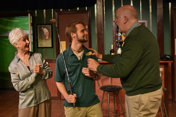 """Bingham (Randy Powell, right) and Celia (Wendy Romero) welcome their new champion, Justin (James Lokey) in the Jewel Box's production of the comedy """"Fox on the Fairway."""""""