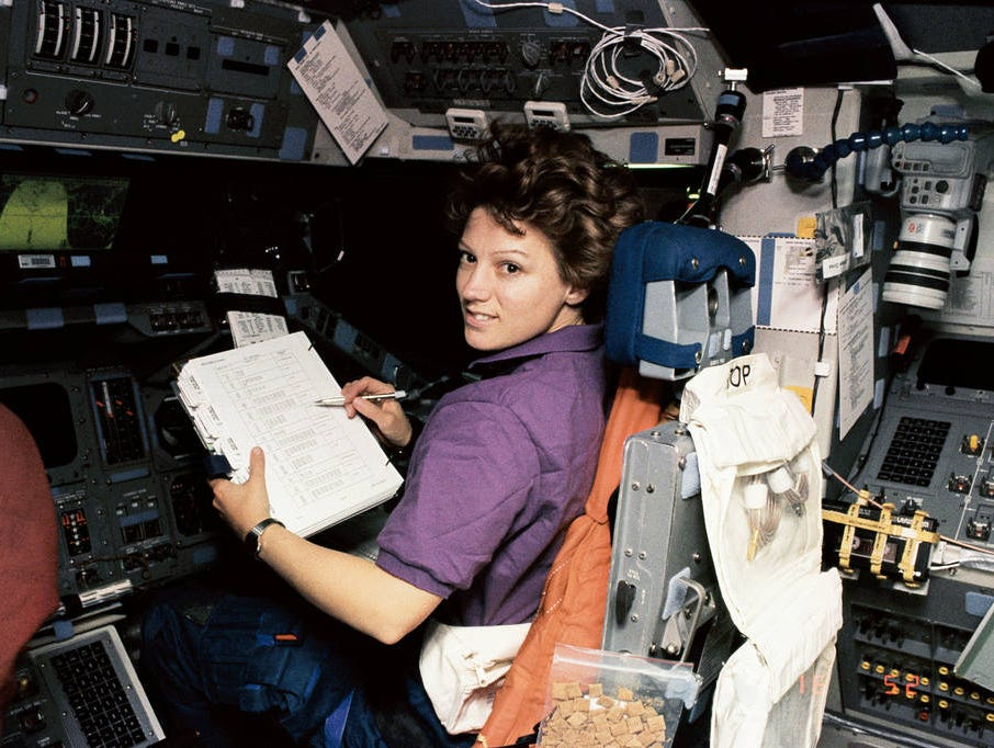 Eileen Collins became the first female shuttle pilot in 1995 and the first female shuttle commander in 1999.