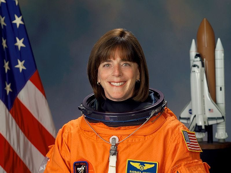 Barbara Morgan trained as a backup for Christa McAuliffe for the ill-fated 1986 Challenger mission. She later trained as a mission specialist and flew on STS-118 in August 2007.