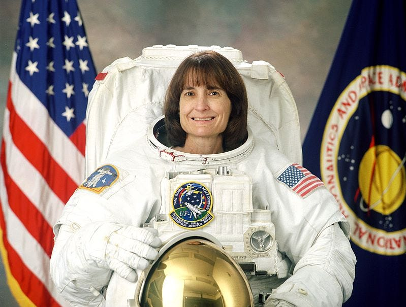 Linda Godwin became the fourth woman to walk in space on March 27, 1996. She flew on four missions between 1991 and 2001.
