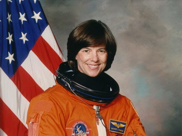 Bonnie Dunbar flew on five missions between 1985 and 1998.