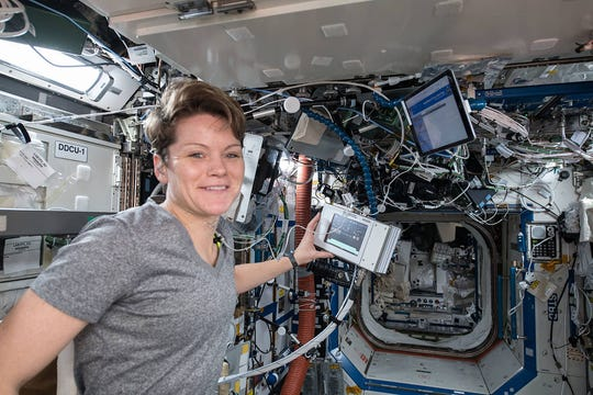 Anne McClain aboard the International Space Station in 2019.