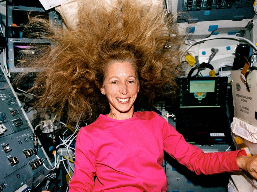 Marsha Ivins flew on five missions between 1990 and 2001, jointly holding the record for American women.