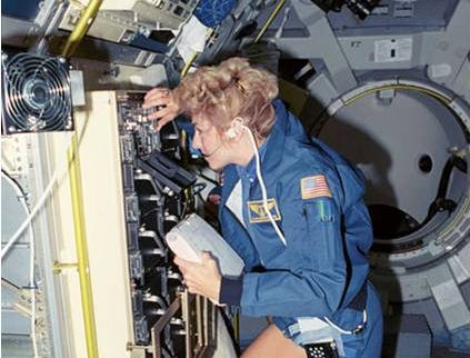 Millie Hughes-Fulford flew aboard Space Shuttle Columbia, Jun. 5, 1991.