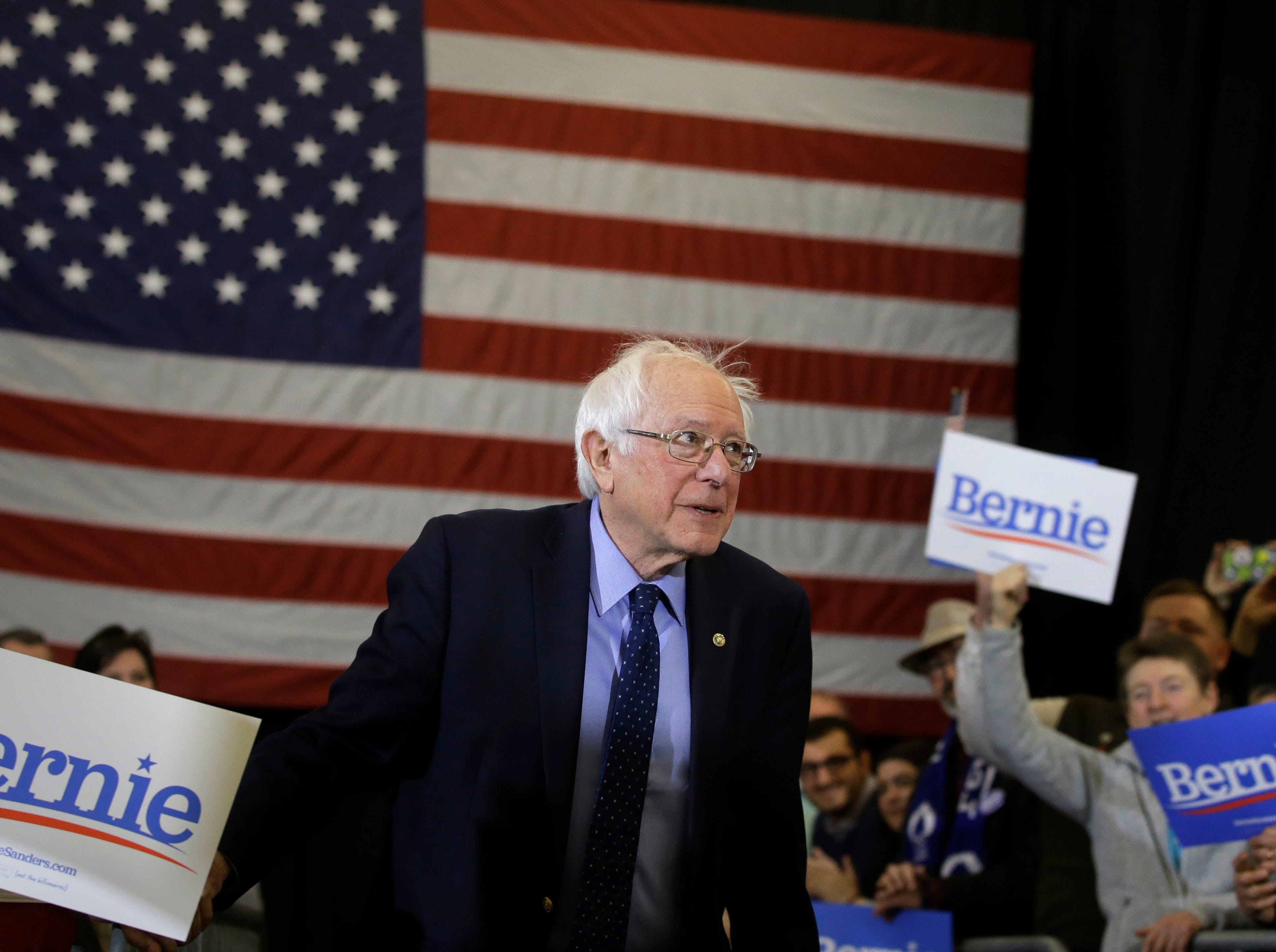 2020 Democratic presidential candidate Sen. Bernie Sanders approaches a podium during a campaign stop, Sunday, March 10, 2019, in Concord, N.H.