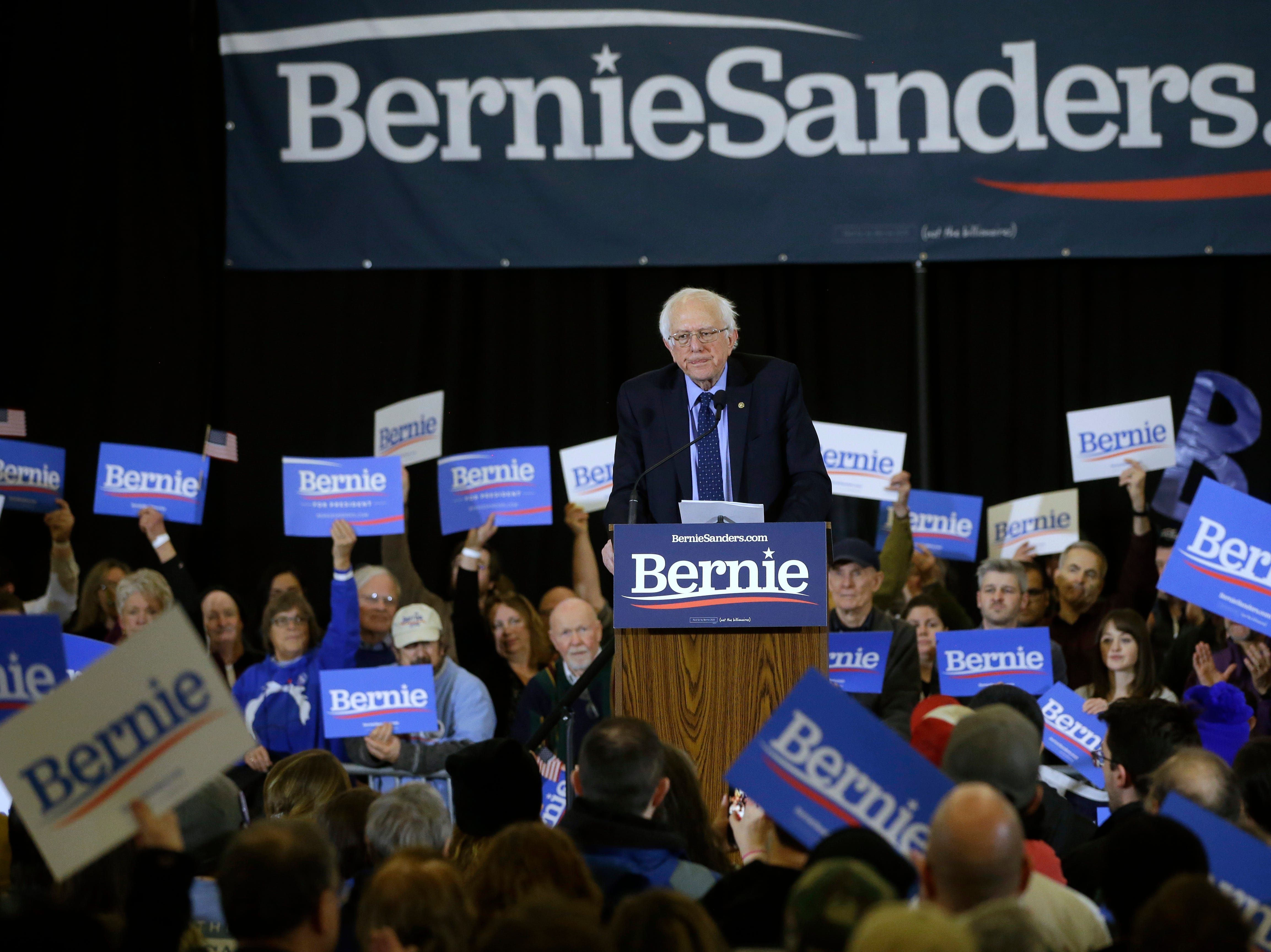 2020 Democratic presidential candidate Sen. Bernie Sanders addresses a rally during a campaign stop, Sunday, March 10, 2019, in Concord, N.H.