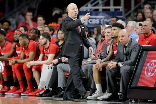 Cincinnati Bearcats head coach Mick Cronin instructs a substitute in the first half of an NCAA college basketball game against the Houston Cougars, Sunday, March 10, 2019, at Fifth Third Arena in Cincinnati.