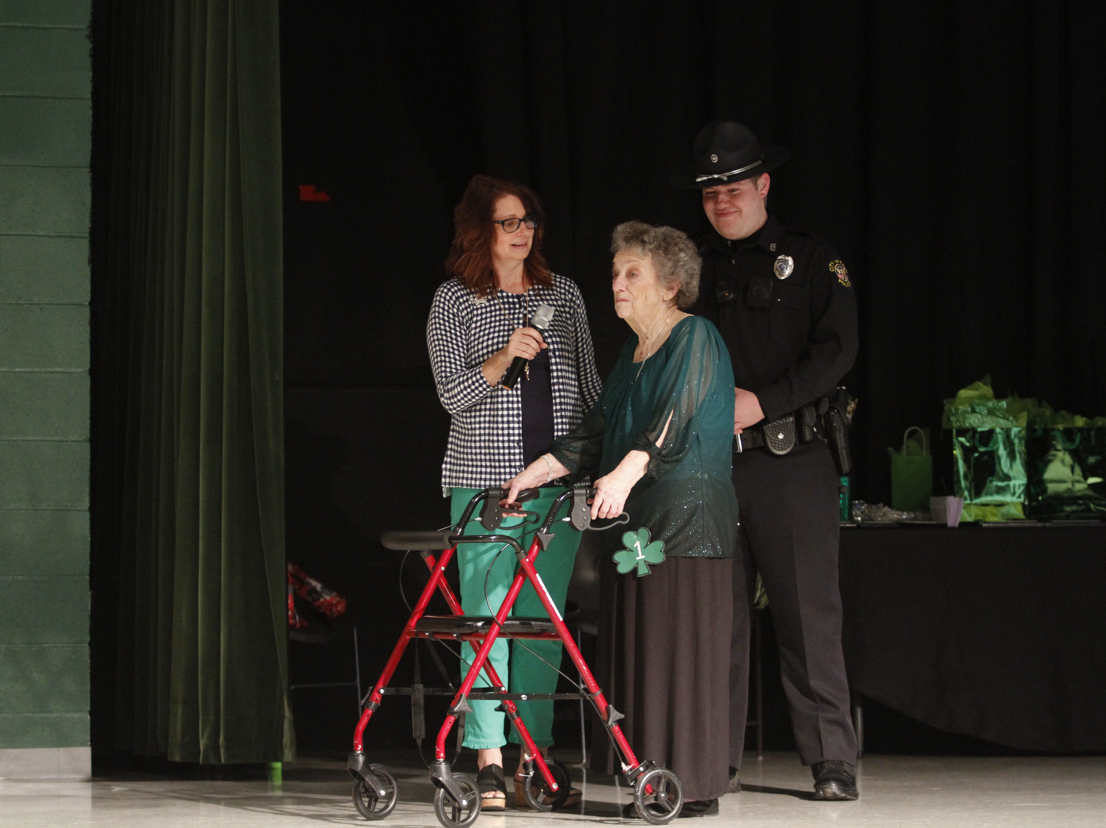 Lisa Moore asks questions of Eula Stanfill at the 2019 Emerald Queen Pageant on Saturday, March 9, 2019.