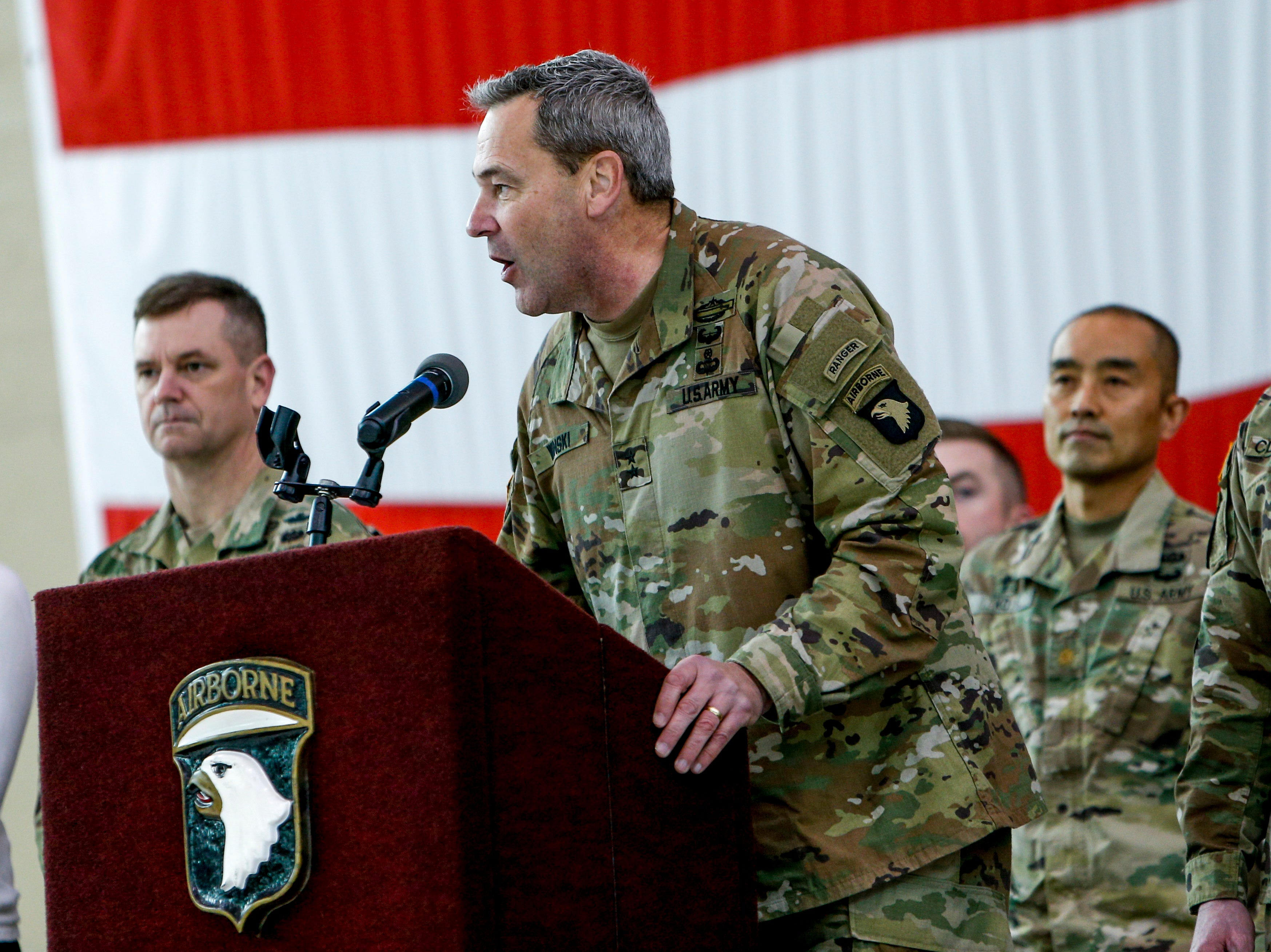 Commangin General MG Brian Winski welcomes troops back to Fort Campbell before dismissing them to see family during the return of soldiers from the 101st Combat Aviation Brigade of 101st Airborne Division (Air Assault) at Campbell Army Air Field in Fort Campbell, KY., on Sunday, March 10, 2019.