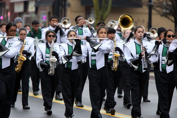 J.F. Kennedy High School marching band performs in the Woodbridge St. Patrick's Day Parade along Main Street on Sunday.