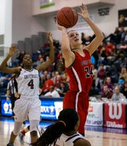 Cameron Ward, Bound Brook, goes up with a first half shot. Bound Brook Girls Basketball vs University  in Girls Group I Final in Toms River on March 10, 2019.