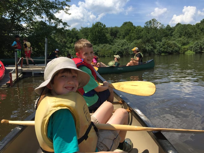 Eco-Explorers canoeing on Branta Pond at the EEC. Eco-Explorers is a summer program for ages 7 to 9 at the Environmental Education Center in the Basking Ridge section of Bernards.