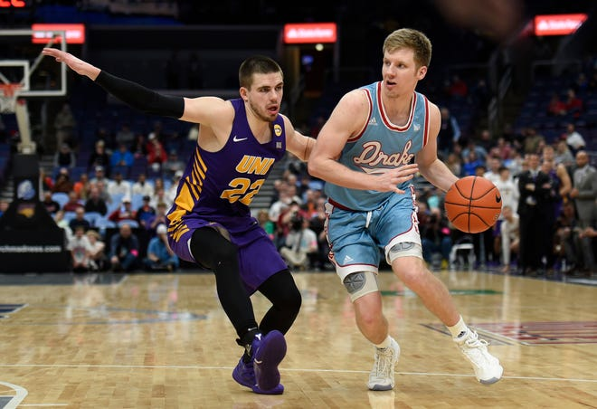 Drake's Brady Ellingson (right) will take his 48 percent 3-point shooting into Cedar City this Friday against Southern Utah.