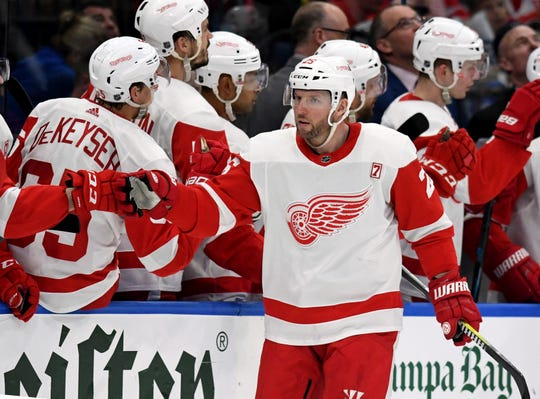 Red Wings left wing Thomas Vanek celebrates his goal during the second period of the Wings' 3-2 loss on Saturday, March 9, 2019, in Tampa, Fla.