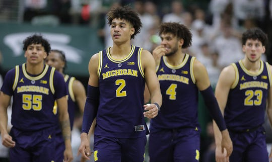Michigan guard Jordan Poole takes the floor during second half action Saturday, March 9, 2019 at the Breslin Center in East Lansing, Mich.