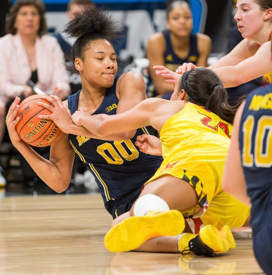 Michigan forward Naz Hillmon and Maryland forward Stephanie Jones fight for a loose ball in the second half of U-M's 72-71 loss in the Big Ten women's tournament semifinal on Saturday, March 9, 2019, in Indianapolis.