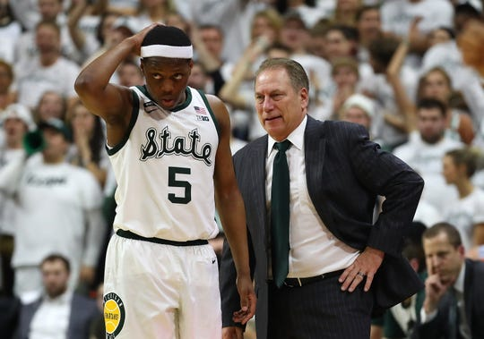 Michigan State coach Tom Izzo and Cassius Winston react during the second half of the 75-63 win over Michigan on Saturday, March 9, 2019, in East lansing