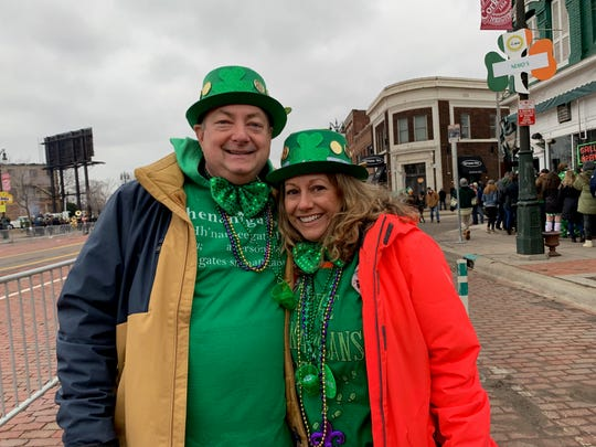 Paul Kahrs, 52, and Claudia McCrackin, 51 from the Rochester area at the Corktown St. Patrick's Day Parade on Sunday.