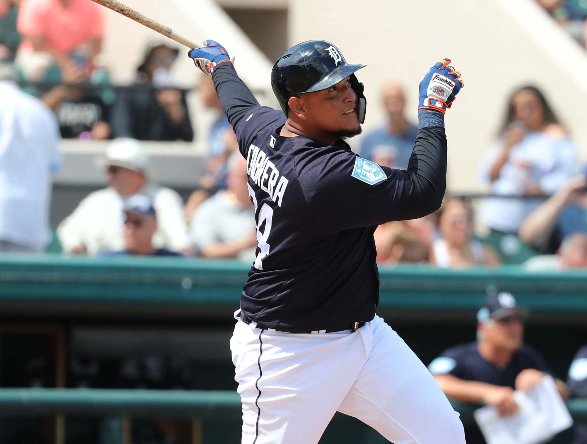 Tigers designated hitter Miguel Cabrera hits a home run during the second inning in the exhibition tie against the New York Yankees on Sunday, March 10, 2019, at Joker Marchant Stadium.