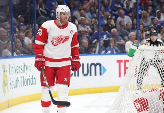 Red Wings left wing Thomas Vanek celebrates as he scores during the second period of the Wings' 3-2 loss on Saturday, March 9, 2019, in Tampa, Fla.