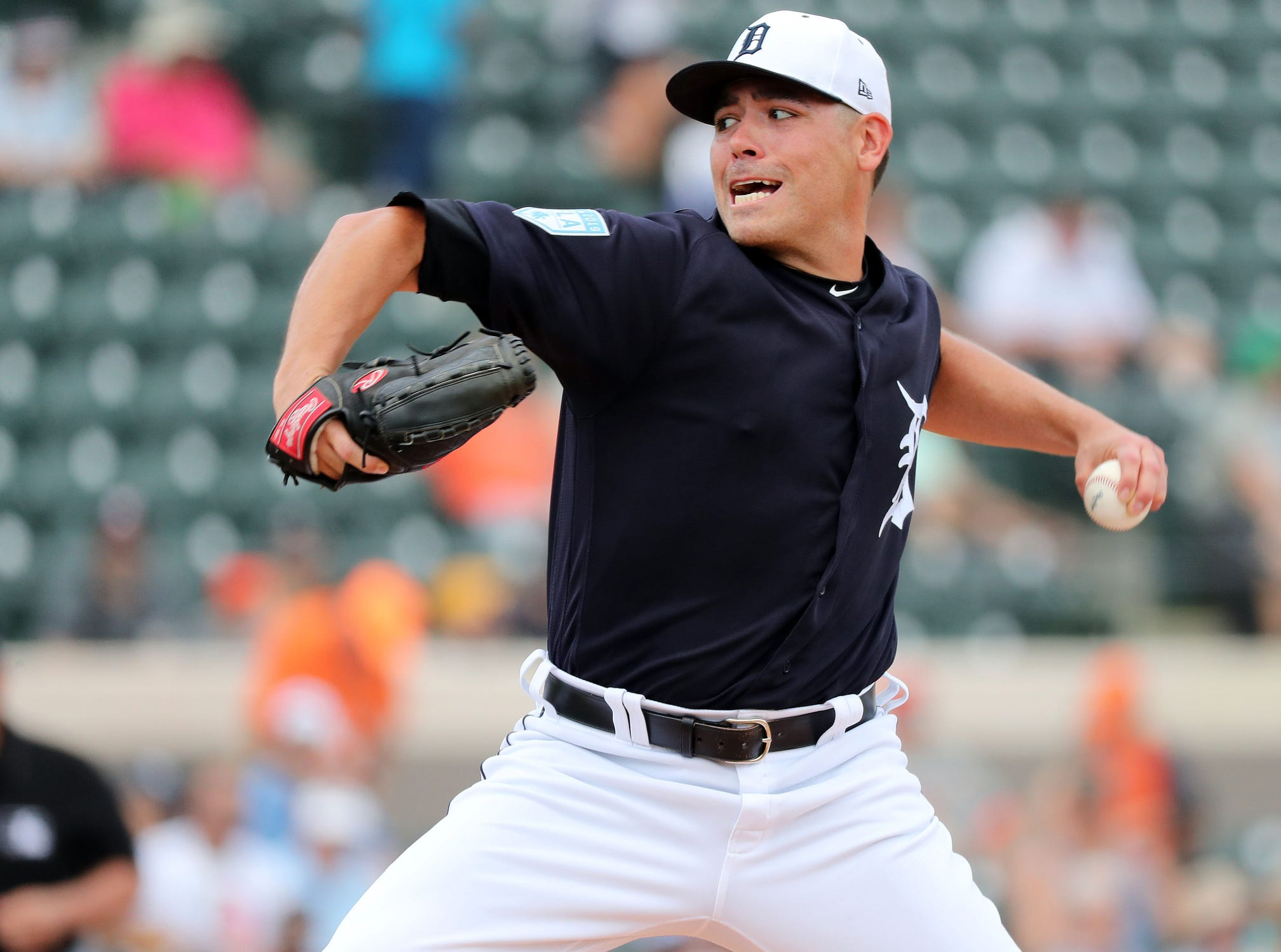 Tigers pitcher Matt Moore throws a pitch during the first inning against the New York Yankees on Sunday, March 10, 2019, at Joker Marchant Stadium.