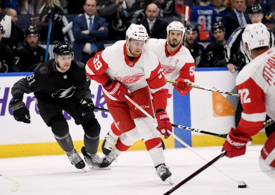 Red Wings right wing Anthony Mantha handles the puck during the first period on Saturday, March 9, 2019, in Tampa, Fla.