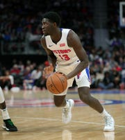 Pistons guard Khyri Thomas during the Pistons' 131-108 win on Sunday, March 10, 2019 at Little Caesars Arena.