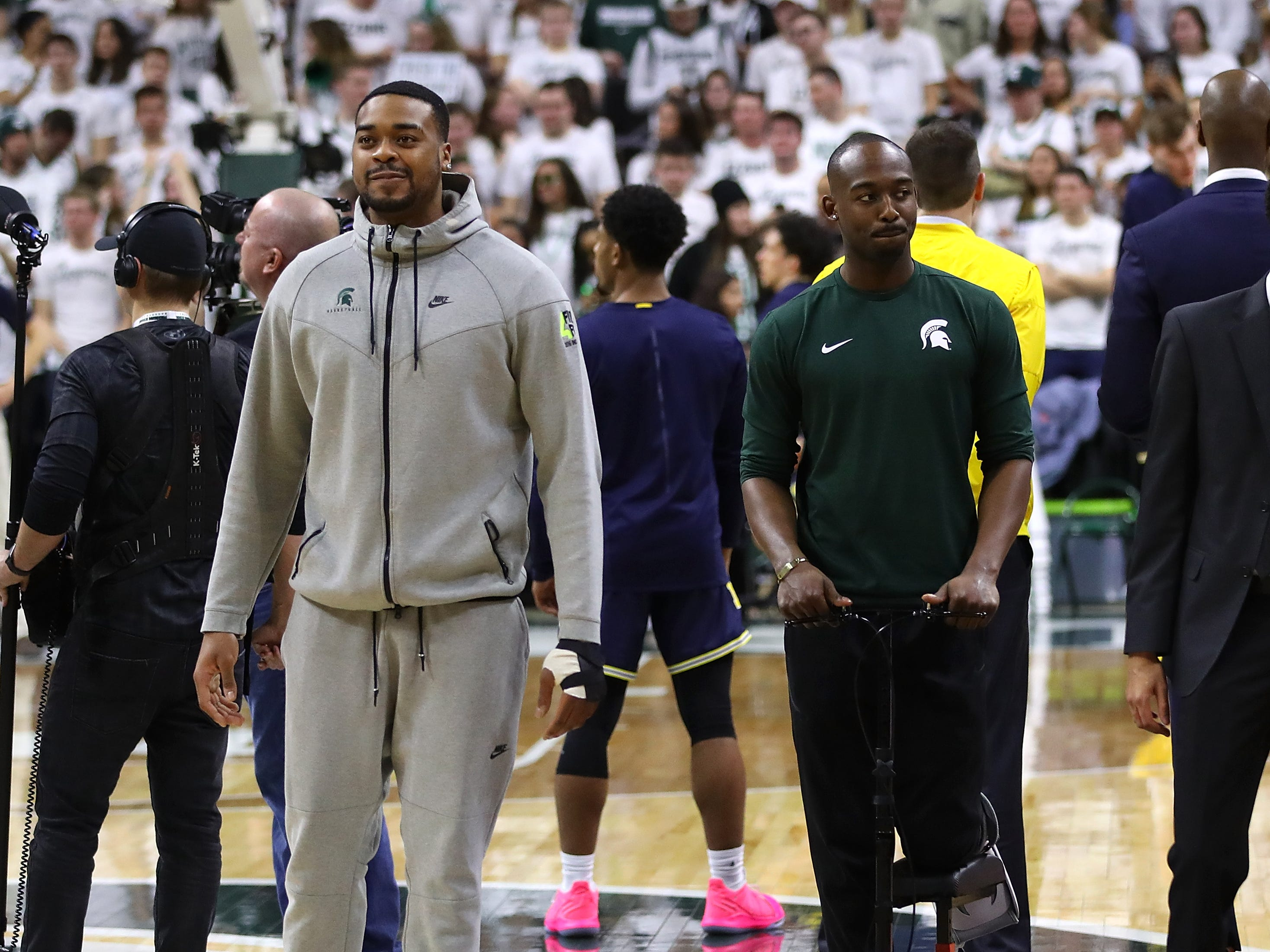 Michigan State's Nick Ward, left, and Joshua Langford look on prior to the game against Michigan at Breslin Center on March 9, 2019.