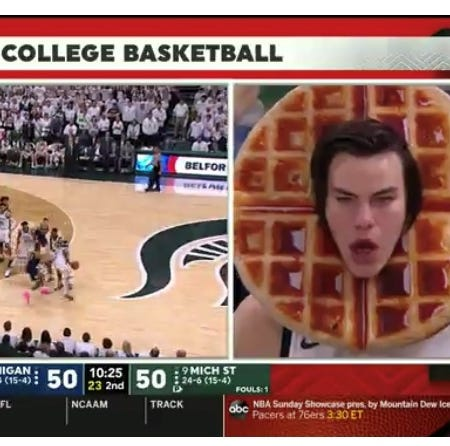 Love or hate? 'Waffle Guy' stars during Michigan-Michigan State game