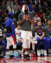 Pistons center Andre Drummond watches during the Pistons' 131-108 win on Sunday, March 10, 2019 at Little Caesars Arena.
