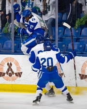 Rylan Clemons (17) of Catholic Central celebrates a first period goal against Saginaw Heritage.