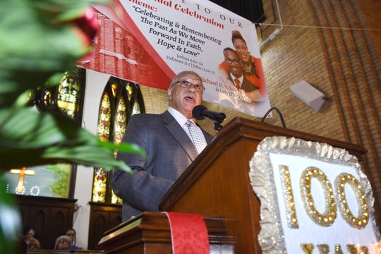 Pastor Charles Twymon of Detroit's Macedonia Baptist Church gives his sermon during the100th anniversary of the Dexter Avenue Baptist Church on Thursday, March 7, 2019.